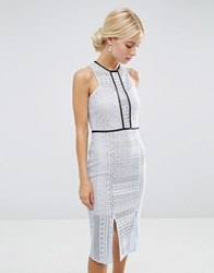 Asos Pencil Dress In Lace With Tipping Pale Blue