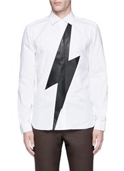 Neil Barrett Leather Thunderbolt Cotton Shirt White
