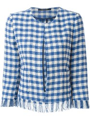 Tagliatore Frayed Check Jacket Blue