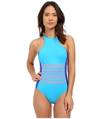 Dkny A Lister Racer Front Maillot W Stripping Detail Removable Soft Cups Electric Women's Swimsuits One Piece Blue