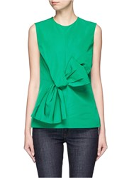 Victoria Beckham Twist Bow Faille Sleeveless Top Green