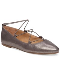 Lucky Brand Women's Aviee Elastic Lace Up Ballet Flats Women's Shoes Old Pewter Leather