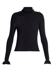 Red Valentino Ruffled Wool Sweater Navy