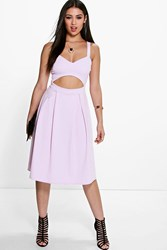 Boohoo Cut Out Frill Midi Skater Dress Violet