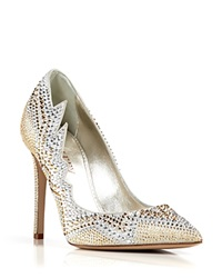 Le Silla Pointed Toe Evening Pumps Crystal High Heel Gold