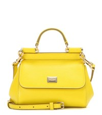 Dolce And Gabbana Miss Sicily Micro Leather Shoulder Bag Yellow