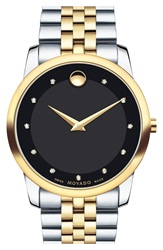 Movado 'Museum Classic' Diamond Two Tone Bracelet Watch 40Mm Silver Gold Black