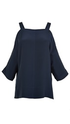 Tibi Silk Cut Out Shoulder Top