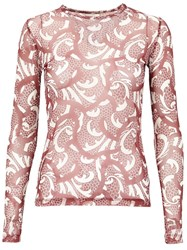 Dries Van Noten Sheer Printed T Shirt Red