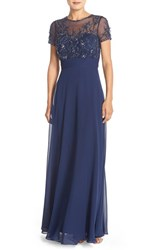 Women's Js Collections Embellished Mesh And Chiffon Gown