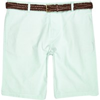 River Island Mens Green Oxford Belted Shorts