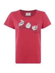 Dickins And Jones Beatrice Birds Jersey Top Berry