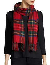 Lord And Taylor Fringed Tartan Plaid Scarf Or Wrap Red