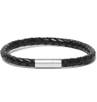 Paul Smith Braided Leather And Stainless Steel Bracelet Black