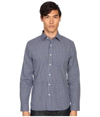 Jack Spade Grant Mini Check Point Collar Shirt Blue Men's Clothing