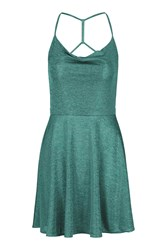Strappy Metallic Skater Dress By Wal G Turquoise