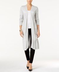 Joseph A Open Front Duster Cardigan Light Heather Grey