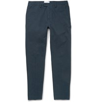 Ami Alexandre Mattiussi Slim Cut Cotton Twill Chinos Navy