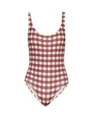 Solid And Striped The Anne Marie Gingham Swimsuit Brown Multi