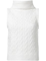 Guild Prime Sleeveless Cable Knit Top White