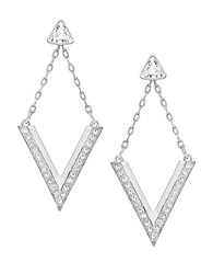 Swarovski Delta Crystal Stud And V Drop Earrings Set Silver