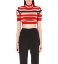 Alessandra Rich Cropped Knitted Top Stripe