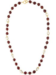 Chanel Vintage Long Bead Necklace Red