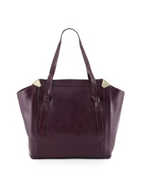 Foley Corinna Portrait Leather Shopper Tote Bag Aubergine