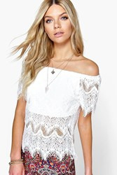 Boohoo Eyelash Lace Off The Shoulder Top White