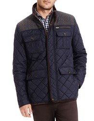 Vince Camuto Quilted Zipper Jacket Navy