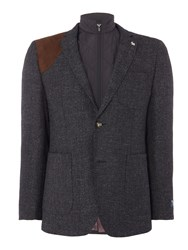 Original Penguin Tailored Men's Soft Boucle Jacket With Zip Out Gilet Charcoal