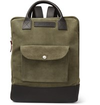 Oliver Spencer Leather Trimmed Suede Backpack Green