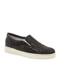 Bottega Veneta Snakeskin Interweave Skater Shoe Female Black