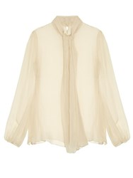 Alexander Mcqueen Neck Tie Long Sleeved Silk Blouse Cream