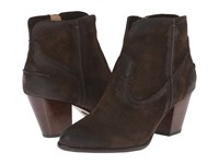Frye Renee Seam Short Fatigue Oiled Suede Cowboy Boots Brown