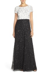 Adrianna Papell Petite Women's Sequin Colorblock Gown Ivory Black