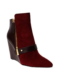 William Rast Avery Suede Wedge Booties Purple