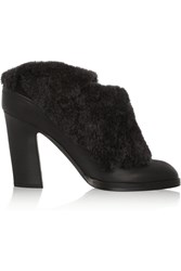 Rag And Bone Hailey Shearling Trimmed Leather Mules