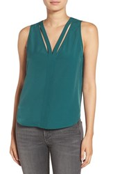 Trouve Women's 'Double V' Crepe Tank Green Bug