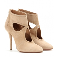 Aquazzura Sexy Thing Suede Stiletto Ankle Boots Nude