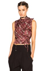 Isabel Marant Theo Stole Twill Top In Red Abstract