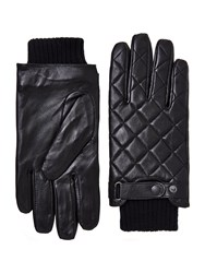 Barbour Quilted Leather Gloves Black