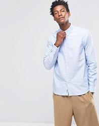 Wood Wood Timothy Logo Oxford Shirt Buttondown In Regular Fit Gray Dawn Blue