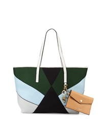 Cynthia Rowley Hayden Colorblock Scuba Leather Tote Bag White Multi