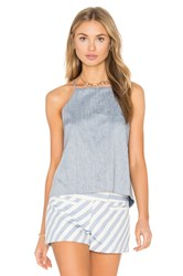 Milly Trapeze Drape Back Tank Blue