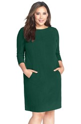 Plus Size Women's Tahari By Arthur S. Levine Seamed A Line Dress Green