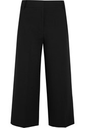 Tibi Cropped Stretch Crepe Wide Leg Pants Black
