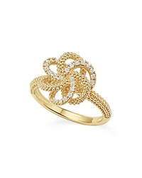Lagos 18K Yellow Gold Love Knot Ring With Diamonds White Gold