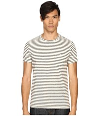 Todd Snyder Striped Weathered Button Pocket Crew Tee White Men's T Shirt