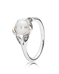 Pandora Design Pandora Ring Sterling Silver Cubic Zirconia And Cultured Freshwater Pearl Luminous Leaves